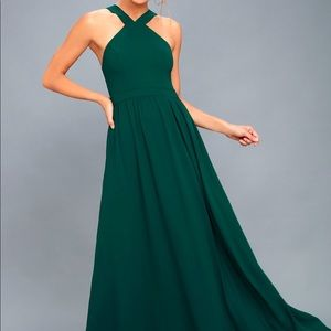Lulu's Air of Romance Forest Green Maxi Dress